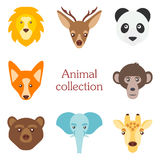 Vector illustration of funny animal icon set Stock Photo