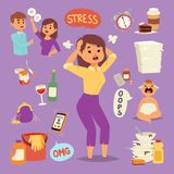 Vector illustration of funny brunette stressed  Stock Photography