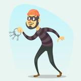 Vector illustration - funny cartoon Burglar carrying a bunch of skeleton keys Stock Photography