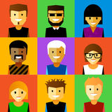 Vector illustration of funny cartoon faces. Stock Photography