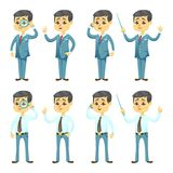 Vector illustration - funny cartoon guy with glasses in various poses handsome young businessman Royalty Free Stock Photography
