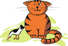 Vector illustration funny cat and bird Royalty Free Stock Images