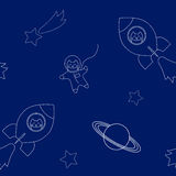 Vector illustration funny cats flying in space ship and space suit in outer space seamless pattern, white outlines Stock Photography