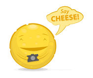 Vector illustration of funny cheese with photo camera Royalty Free Stock Photo