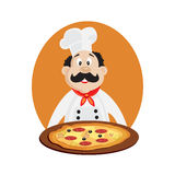 Vector illustration of funny chef with pizza Royalty Free Stock Photos