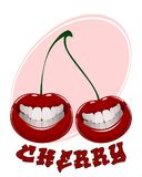 Funny cherry on white. Vector illustration of funny cherry on white Royalty Free Stock Photo