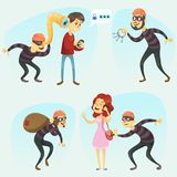 Vector illustration - funny comic thief in action illustration collection Criminals And Burglar Cartoon set Stock Photography