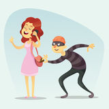 Vector illustration - funny comic Thief Steals a Purse from Hapless girl woman chat on phone Character Icon Cartoon Design Templat Stock Photos
