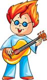 Vector illustration, with a funny crazy fashioned boy playing guitar vector illustration
