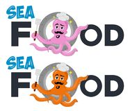 Vector illustration of funny cute octopus cook climbs out of the porthole. Cartoon Character. Excellent logo template highly suita royalty free illustration