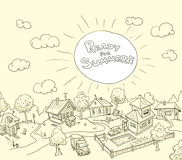 Vector Illustration with Funny Doodle Village Stock Images