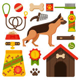 Vector illustration funny german shepherd dog. Stock Photos