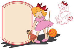 Vector illustration. Funny girl with toys in the background for text Stock Photography