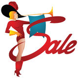 Vector illustration. Funny girl trumpeter calling on sale. Royalty Free Stock Photo