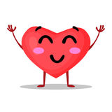Vector illustration of funny heart isolated on white background, emotional cartoon icon. Royalty Free Stock Photography