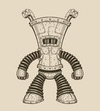 Vector illustration of an funny iron robot Stock Photography