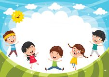 Vector Illustration Of Funny Kids Playing Outside. Eps 10 Stock Photo