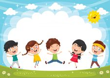 Vector Illustration Of Funny Kids Playing Outside. Eps 10 Stock Photos