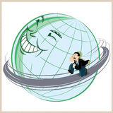 Vector illustration. Funny man running around the planet earth. Stock Image