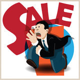 Vector illustration. Funny man running on the sale. Stock Photography