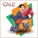 Vector illustration. Funny man running with the sale. Stock Photos
