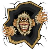 Vector illustration, funny Monkey chimpanzee. Break the wall, on a white background stock illustration
