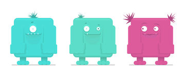 Vector illustration of funny monsters. Vector illustration of three funny monsters royalty free illustration