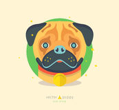 Vector illustration of funny pug dog. Cute animal Stock Photos