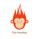 Vector illustration. Funny Redhead fiery monkey. Vector. Funny Redhead fiery monkey on a white background. The animal symbol 2016 Stock Images
