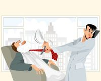 Funny situation in barbershop. Vector illustration of a funny situation in barbershop stock illustration