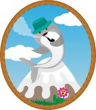 Cartoon smoking whale on the mountain stock illustration