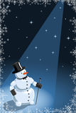 Vector illustration of a funny snowman. In black hat Royalty Free Stock Photography
