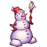Vector illustration of funny snowman with broom Stock Image