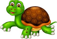 Funny turtle cartoon walking with smile and waving Stock Images