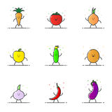 Vector illustration of funny vegetable characters cartoon set in line style. Stock Photo