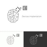 Vector illustration of future medicine trend. Medical gadgets and technological innovations. Thin line concept icon. Human brain augmentation through devices Royalty Free Stock Images