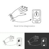 Vector illustration of future medicine trend. Medical gadgets and technological innovations. Thin line concept icon. Real-time diagnostics through wearable vector illustration