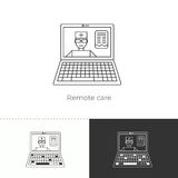 Vector illustration of future medicine trend. Medical gadgets and technological innovations. Thin line concept icon. Remote care: doctor through internet stock illustration