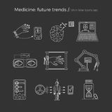 Vector illustration of future medicine trends. Medical gadgets and technological innovations. Thin line icons set of concept art. Dark black background vector illustration