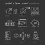 Vector illustration of future medicine trends. Medical gadgets and technological innovations. Thin line icons set of concept art. Dark black background. Text Royalty Free Stock Photos