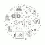 Vector illustration of future medicine trends. Medical gadgets and technological innovations. Thin line icons set of concept art. White background. Round shape royalty free illustration