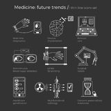 Vector illustration of future medicine trends. Medical gadgets and technological innovations. Thin line icons set of concept art. White background, text Royalty Free Stock Photo