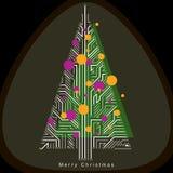 Vector illustration of futuristic evergreen Christmas tree, tech Royalty Free Stock Photo