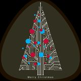 Vector illustration of futuristic evergreen Christmas tree, tech Stock Photography