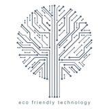 Vector illustration of futuristic tree, new technology. Green th Stock Photo