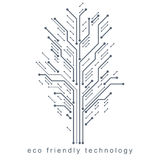 Vector illustration of futuristic tree, new technology. Green th Royalty Free Stock Image
