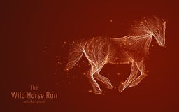Vector illustration of galloping horse constructed with branching lines and glowing point trails. The concept of. Development, progress, speed and wild freedom Royalty Free Stock Photo