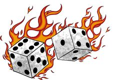 Vector illustration game Dices in fire and flames vector illustration