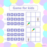 Vector illustration. game for preschool kids. rebus for children. Arrows. choose the right answer. help little hare to find carrot Royalty Free Stock Image