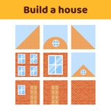 Vector illustration. game for preschool kids. rebus for children. Build a house. construction. puzzle Stock Photography